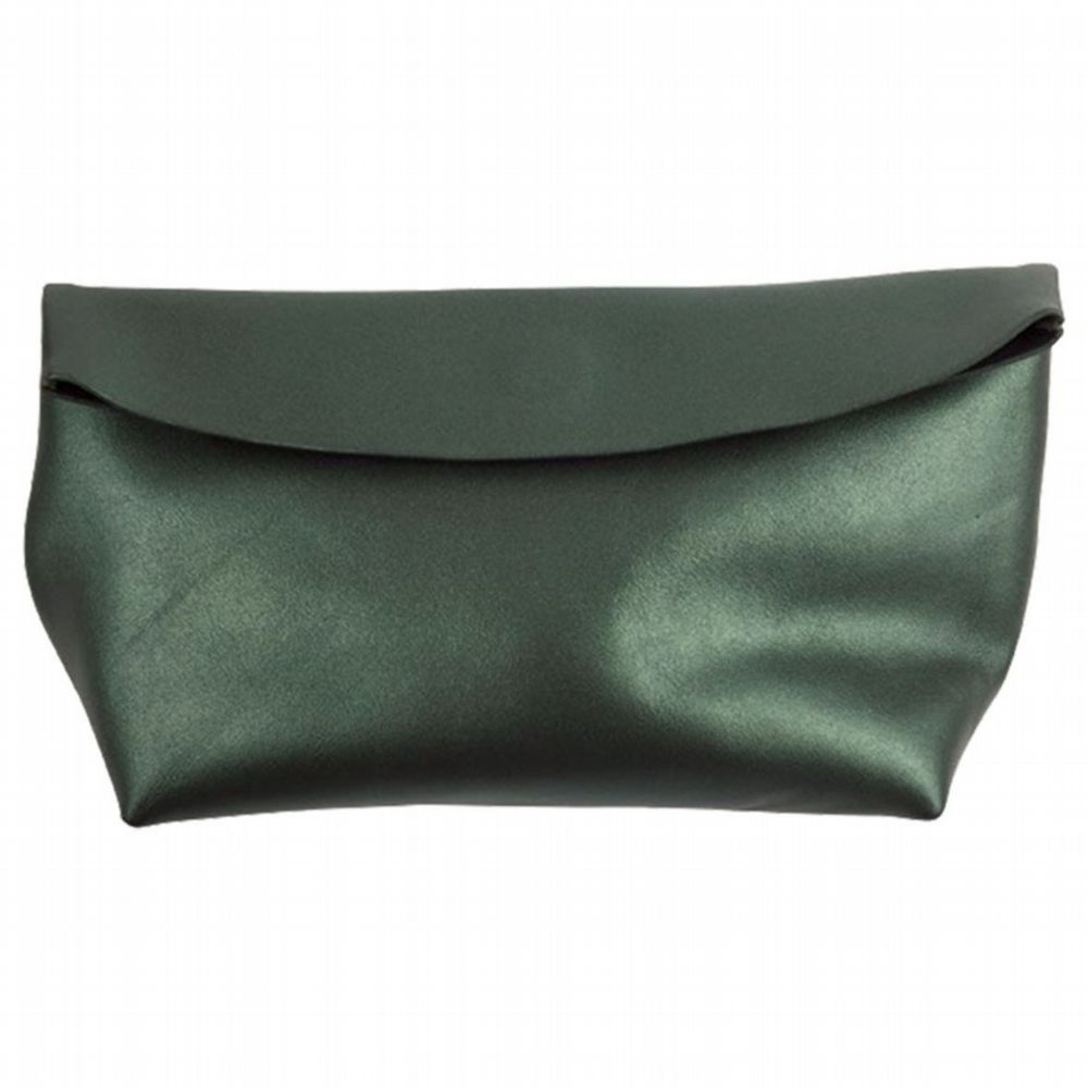 Leather Pouch - Pearlised Green